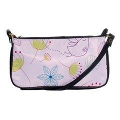 Pretty Summer Garden Floral Bird Pink Seamless Pattern Shoulder Clutch Bags