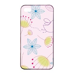 Pretty Summer Garden Floral Bird Pink Seamless Pattern Apple Iphone 4/4s Seamless Case (black)
