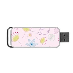 Pretty Summer Garden Floral Bird Pink Seamless Pattern Portable Usb Flash (one Side)