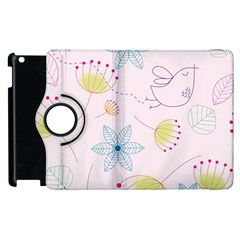 Pretty Summer Garden Floral Bird Pink Seamless Pattern Apple Ipad 2 Flip 360 Case by Nexatart
