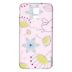 Pretty Summer Garden Floral Bird Pink Seamless Pattern Samsung Galaxy S5 Back Case (white)