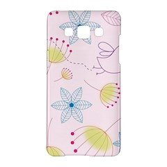 Pretty Summer Garden Floral Bird Pink Seamless Pattern Samsung Galaxy A5 Hardshell Case