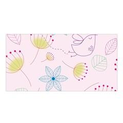 Pretty Summer Garden Floral Bird Pink Seamless Pattern Satin Shawl