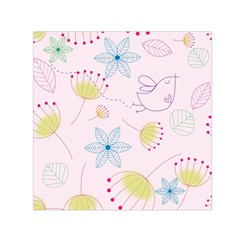 Pretty Summer Garden Floral Bird Pink Seamless Pattern Small Satin Scarf (square)