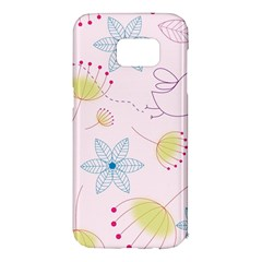 Pretty Summer Garden Floral Bird Pink Seamless Pattern Samsung Galaxy S7 Edge Hardshell Case