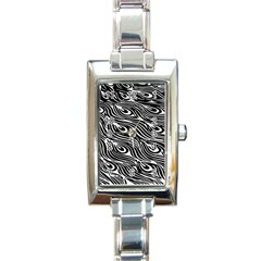 Digitally Created Peacock Feather Pattern In Black And White Rectangle Italian Charm Watch