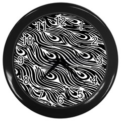 Digitally Created Peacock Feather Pattern In Black And White Wall Clocks (black) by Nexatart