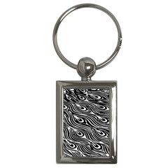 Digitally Created Peacock Feather Pattern In Black And White Key Chains (rectangle)  by Nexatart
