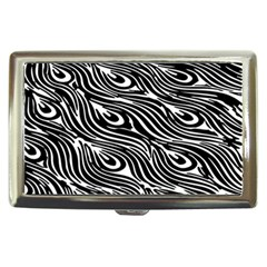 Digitally Created Peacock Feather Pattern In Black And White Cigarette Money Cases by Nexatart