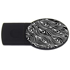 Digitally Created Peacock Feather Pattern In Black And White Usb Flash Drive Oval (2 Gb)
