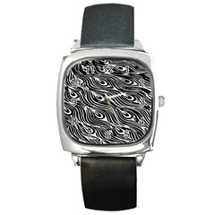 Digitally Created Peacock Feather Pattern In Black And White Square Metal Watch