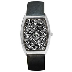 Digitally Created Peacock Feather Pattern In Black And White Barrel Style Metal Watch by Nexatart