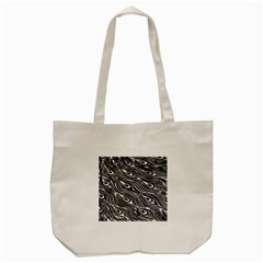 Digitally Created Peacock Feather Pattern In Black And White Tote Bag (cream) by Nexatart