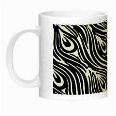 Digitally Created Peacock Feather Pattern In Black And White Night Luminous Mugs by Nexatart