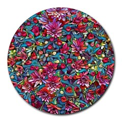 Lovely Floral 31a Round Mousepads by MoreColorsinLife