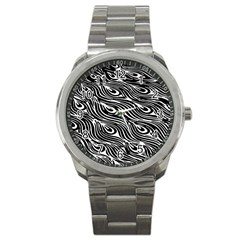 Digitally Created Peacock Feather Pattern In Black And White Sport Metal Watch by Nexatart