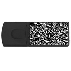 Digitally Created Peacock Feather Pattern In Black And White Usb Flash Drive Rectangular (4 Gb) by Nexatart