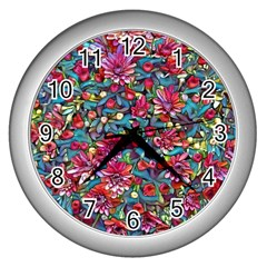 Lovely Floral 31a Wall Clocks (silver)  by MoreColorsinLife