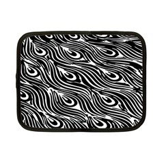 Digitally Created Peacock Feather Pattern In Black And White Netbook Case (small)  by Nexatart