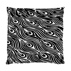 Digitally Created Peacock Feather Pattern In Black And White Standard Cushion Case (two Sides)