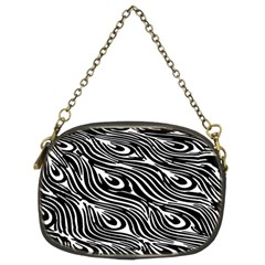 Digitally Created Peacock Feather Pattern In Black And White Chain Purses (two Sides)