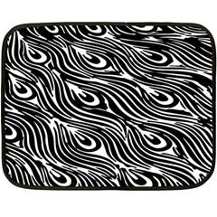 Digitally Created Peacock Feather Pattern In Black And White Fleece Blanket (mini) by Nexatart