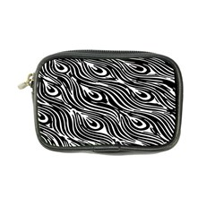 Digitally Created Peacock Feather Pattern In Black And White Coin Purse by Nexatart