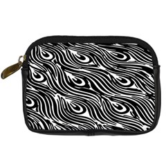 Digitally Created Peacock Feather Pattern In Black And White Digital Camera Cases