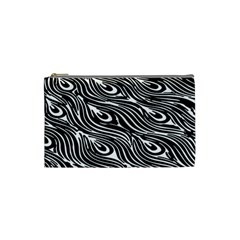 Digitally Created Peacock Feather Pattern In Black And White Cosmetic Bag (small)