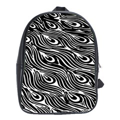 Digitally Created Peacock Feather Pattern In Black And White School Bags(large)