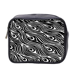 Digitally Created Peacock Feather Pattern In Black And White Mini Toiletries Bag 2 Side by Nexatart