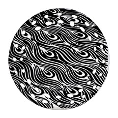 Digitally Created Peacock Feather Pattern In Black And White Ornament (round Filigree)