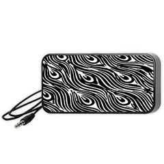 Digitally Created Peacock Feather Pattern In Black And White Portable Speaker (black)