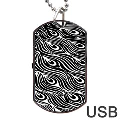 Digitally Created Peacock Feather Pattern In Black And White Dog Tag Usb Flash (two Sides)