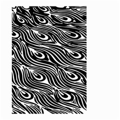 Digitally Created Peacock Feather Pattern In Black And White Small Garden Flag (two Sides)