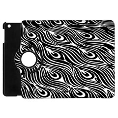 Digitally Created Peacock Feather Pattern In Black And White Apple Ipad Mini Flip 360 Case by Nexatart