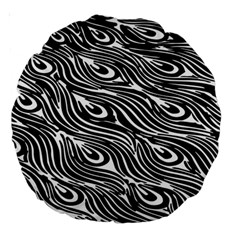 Digitally Created Peacock Feather Pattern In Black And White Large 18  Premium Round Cushions by Nexatart