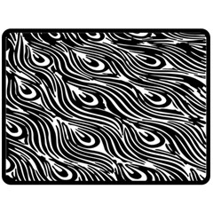 Digitally Created Peacock Feather Pattern In Black And White Double Sided Fleece Blanket (large)  by Nexatart