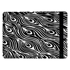 Digitally Created Peacock Feather Pattern In Black And White Samsung Galaxy Tab Pro 12 2  Flip Case