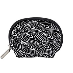 Digitally Created Peacock Feather Pattern In Black And White Accessory Pouches (small)