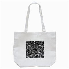 Digitally Created Peacock Feather Pattern In Black And White Tote Bag (white) by Nexatart
