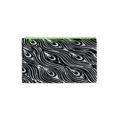 Digitally Created Peacock Feather Pattern In Black And White Cosmetic Bag (xs) by Nexatart