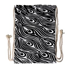 Digitally Created Peacock Feather Pattern In Black And White Drawstring Bag (large)