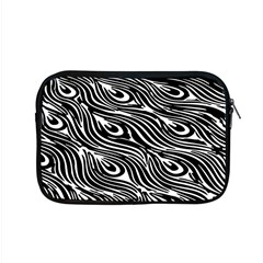 Digitally Created Peacock Feather Pattern In Black And White Apple Macbook Pro 15  Zipper Case by Nexatart