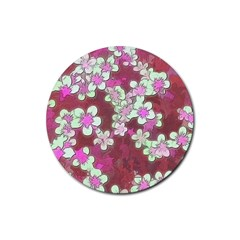 Lovely Floral 29 B Rubber Coaster (round)  by MoreColorsinLife