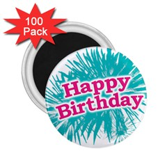 Happy Brithday Typographic Design 2 25  Magnets (100 Pack)  by dflcprints