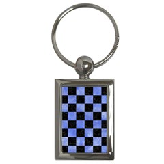 Square1 Black Marble & Blue Watercolor Key Chain (rectangle) by trendistuff