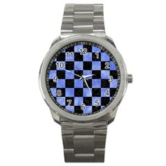 Square1 Black Marble & Blue Watercolor Sport Metal Watch by trendistuff