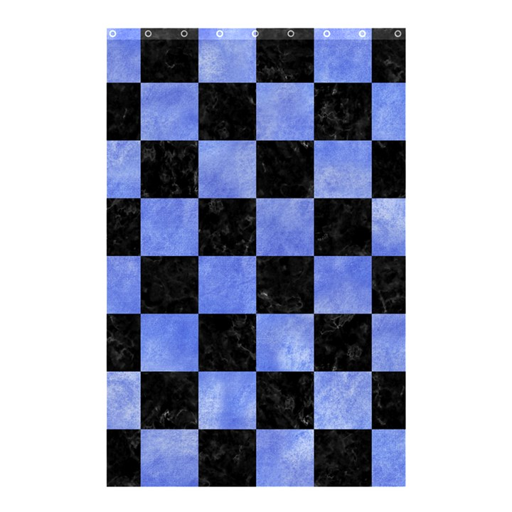 SQUARE1 BLACK MARBLE & BLUE WATERCOLOR Shower Curtain 48  x 72  (Small)