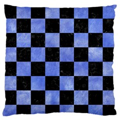 Square1 Black Marble & Blue Watercolor Standard Flano Cushion Case (two Sides) by trendistuff